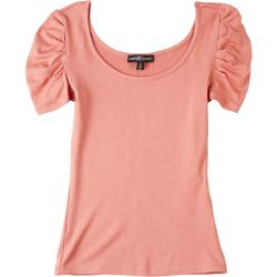Almost Famous Juniors Solid Puff Sleeve Short Sleeve Top