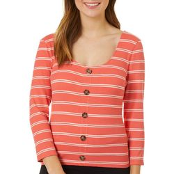 Almost Famous Juniors Striped Faux Button Down V-Neck Top