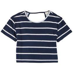 Full Circle Trends Juniors Bare Back Stripe Short Sleeve Top