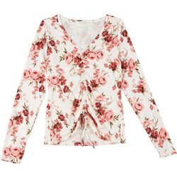 Full Circle Trends Juniors Roses Ruching Top