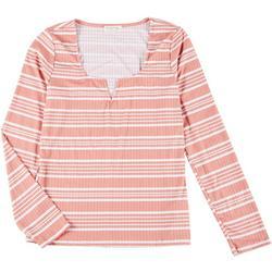 Juniors Striped Long Sleeve Top