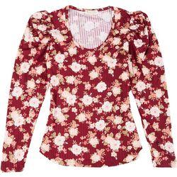 Full Circle Trends Juniors Rose Scoop Neck Long Sleeve Top