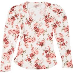 Full Circle Trends Juniors Floral Scoop Neck Long Sleeve Top