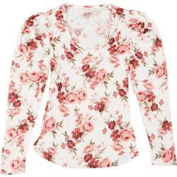 Juniors Floral Scoop Neck Long Sleeve Top