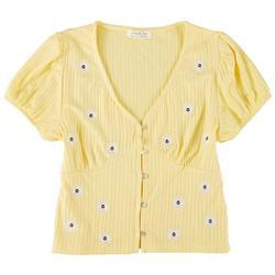 Juniors Floral Babydoll Short Sleeve Top