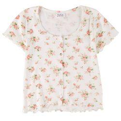 Full Circle Juniors Ribbed Floral Short Sleeve Top