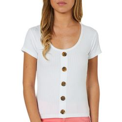Full Circle Trends Juniors Button Detail Rib Knit Top