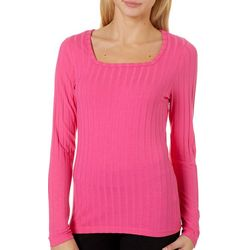 Full Circle Trends Juniors Solid Ribbed Long Sleeve Top
