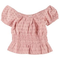 Full Circle Trends Juniors Puff Sleeve Eyelet Top