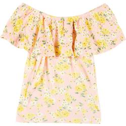 Juniors Fitted Riffly Floral Print Top