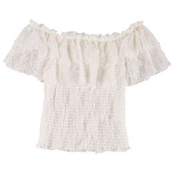 Full Circle Trends Juniors Lace Popover Ruffle Smocked Top