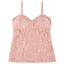 Juniors Solid Lace Sleeveless Top
