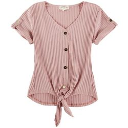 Full Circle Trends Juniors Faux Buttom Placket Top
