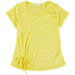 Full Circle Trends Juniors Solid Detail Top With A Tie