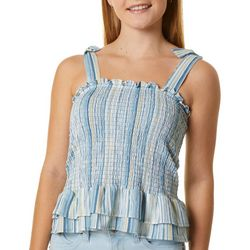 Full Circle Trends Juniors Stripes Smocked Tank Top