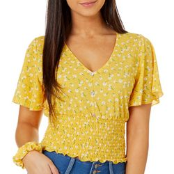 Juniors Floral Smocked Top