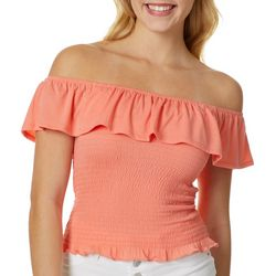 Full Circle Trends Juniors Popover Ruffle Smocked Top