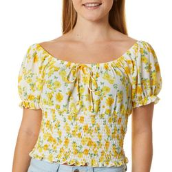 Full Circle Trends Juniors Yellow Floral Print Smocked Top