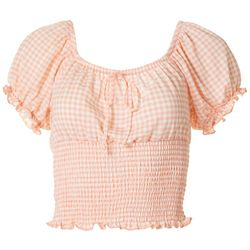 Juniors Check Pattern Smocked Top