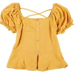 Juniors Puff Sleeves Solid Smocked Top