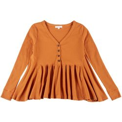 CoCo & Jaimeson Juniors Waffle Knit Buttoned Babydoll Top
