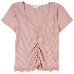 Juniors Rib Cropped Short Sleeve Top