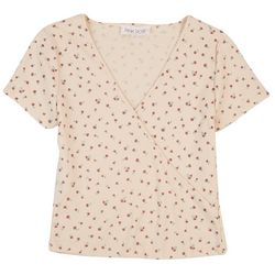 Pink Rose Juniors Printed Waffle Knit Short Sleeve Top