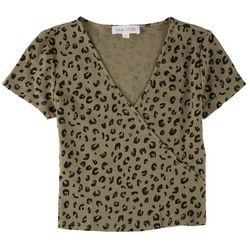 Pink Rose Juniors Fitted Animal Print Top