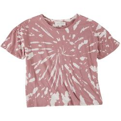 Pink Rose Juniors Tie-Dye Spiral Short Sleeve Top