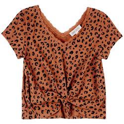 Juniors Short Sleeve Leopard Top