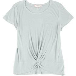 Juniors Short Sleeve Twisty Top
