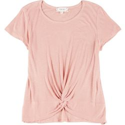 Pink Rose Juniors Short Sleeve Twist Front Top