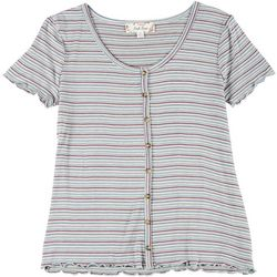 Pink Rose Juniors Striped Short Sleeve Lettuce Trim Top