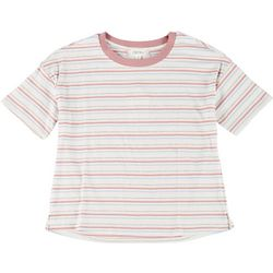 Pink Rose Juniors Striped Short Sleeve Cropped Top