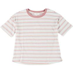 Juniors Striped Short Sleeve Cropped Top