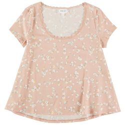 Pink Rose Juniors Floral Short Sleeve Top With Lace