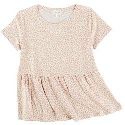 Pink Rose Big Girls Short Sleeve Cheetah Print Detail Top