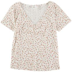 Pink Rose Juniors Flower V-Neck Top