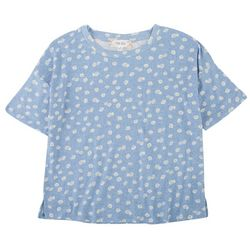 Pink Rose Juniors Daisy Printed Short Sleeve Cropped Top