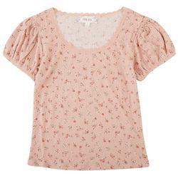 Pink Rose Juniors Lace Neckline Top