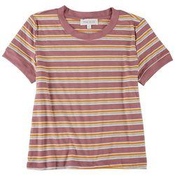 Pink Rose Juniors Ribbed Trim Stripes Top
