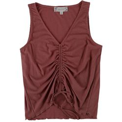 Pink Rose Juniors Scrunched Sleeveless Crop Top