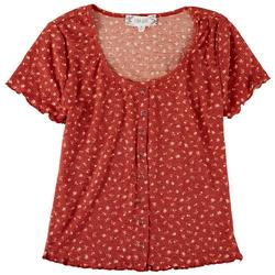 Juniors Scoop Neck Ribbed Floral Top