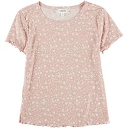 Pink Rose Juniors Floral Lettuce Trim Top