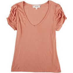 Pink Rose Big Girls Short Sleeve Puffy Sleeve Detail Top
