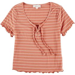 Pink Rose Juniors Striped Short Sleeve Tie Top