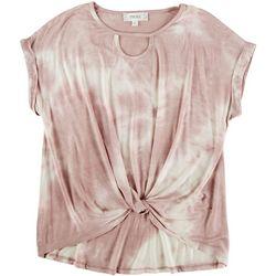 Pink Rose Juniors Short Sleeve Twist Front Top