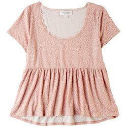 Pink RoseJuniors Short Sleeve Print Detail Top