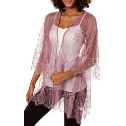 Glitz Juniors Solid Lace Kimono Style Cardigan