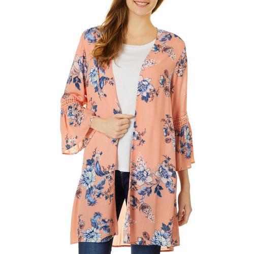 Juniors Tropical-Print Kimono Say What
